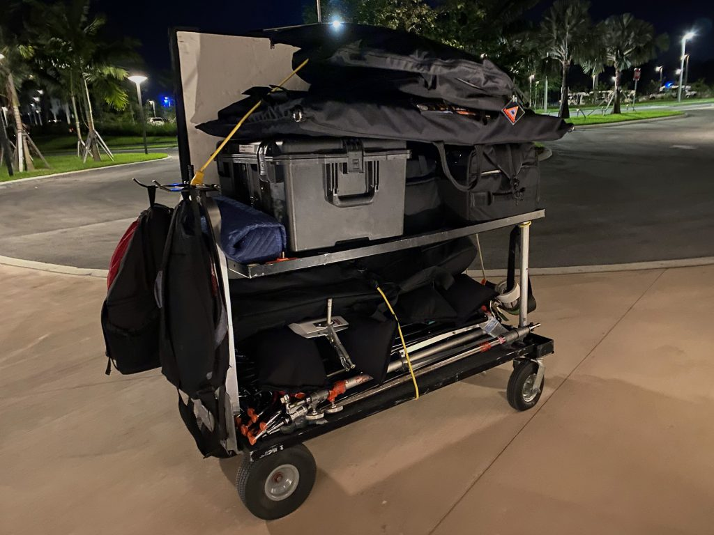 Magliner Senior camera cart loaded with video production gear.